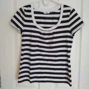 2/$15 Liz Claiborne black and white striped shirt